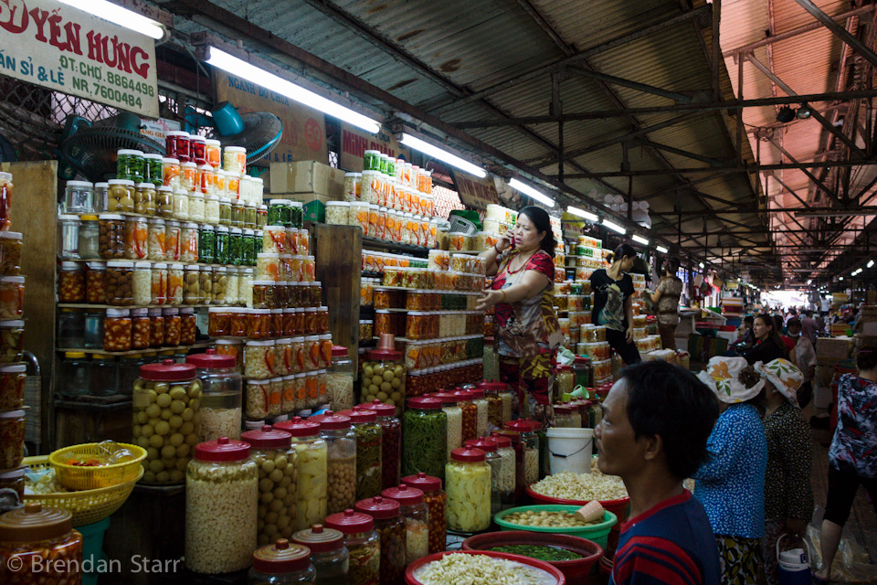 Aisles of pickled goodies at the Chinatown Market in Saigon.