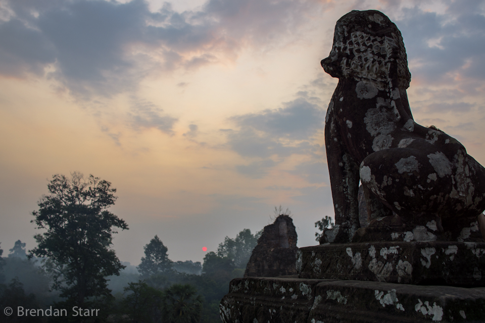 Delayed sunrise at Ta Prohm, after the lake debacle was cleared up