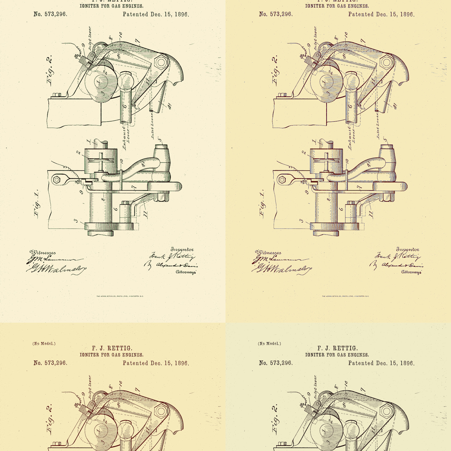 F. J. RETTIG. IGNITER FOR GAS ENGINES. No. 573,296 Patented Dec. 15,1896.  UNITED STATES PATENT  FRANK RETTIG, OF NORTH MANCHESTER,INDIANA. ASSIGNOR TO THE BUCKEYE MANUFACTURING COMPANY, OF ANDERSON,INDIANA.  IGNITER FOR GAS-ENGINES.  SPECIFICATION forming part of Letters Patent No. 573,296, dated December 15, 1896.  Application filed March 5, 1896- Serial No. 581,964. (No model.)