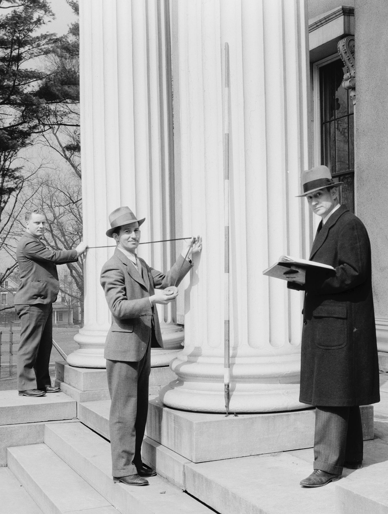 HABS team in 1934 measuring the Kentucky School for the Blind. Source via Library of Congress.