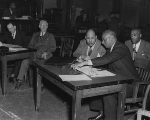 Willard Ransom and Robert Brokenburr in court (1948). Photo credit: Indiana Historical Society Digital Image Collections.