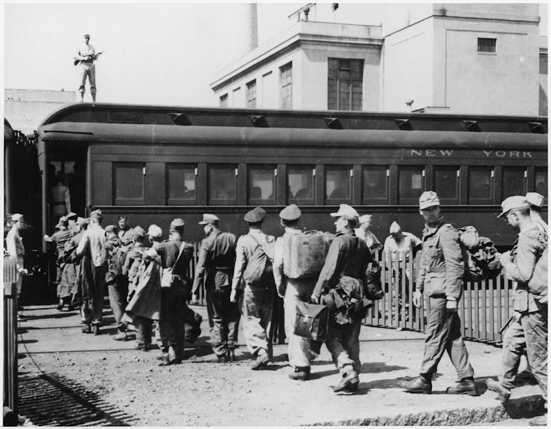 German POWs board a train in Boston for Prison Camp (n.d.)