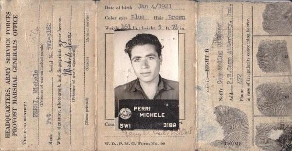 POW ID Card for Michele Perri