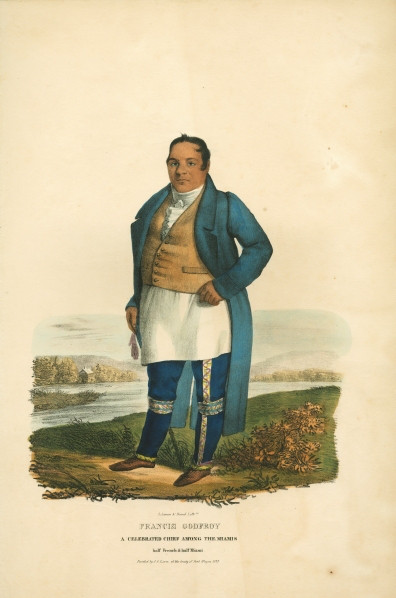 Miami Chief Francis Godfroy. Lithograph by James Lewis Otto (1836). Image via NYPL Digital Image Collection.