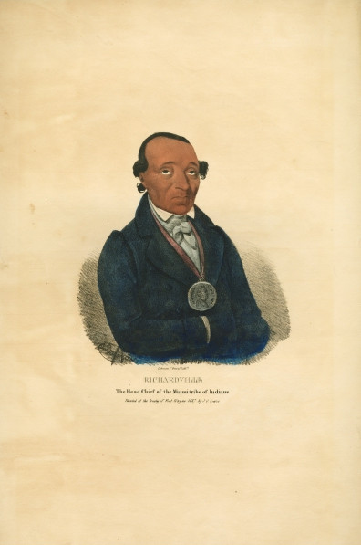 Miami Chief Jean Baptiste de Richardville. Lithograph by James Lewis (1838). Image via Newberry Library.