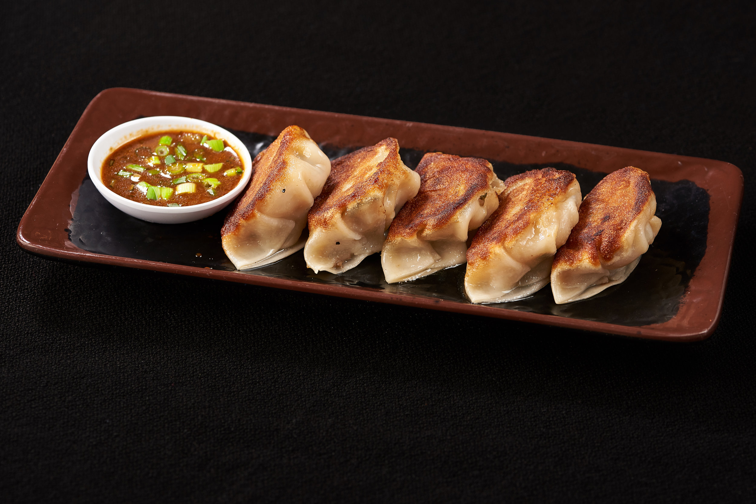 Professional food photo of pan fried dumplings. Commercial photography