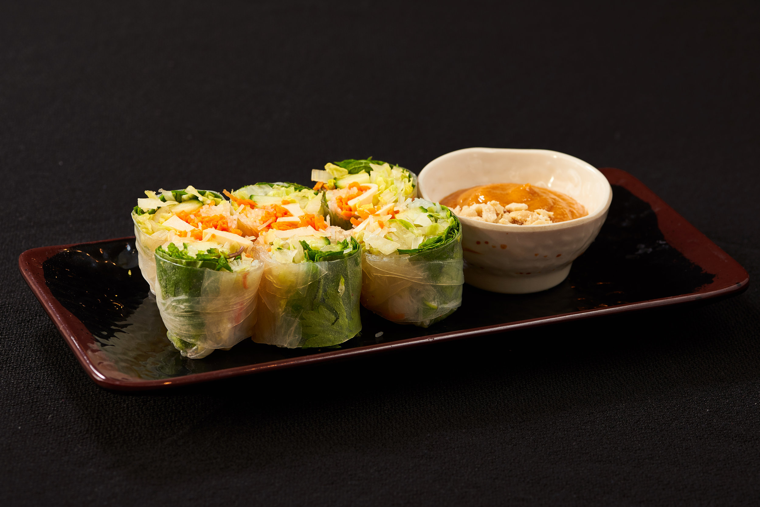 Professional food photo of spring vegetable rolls. Commercial photography