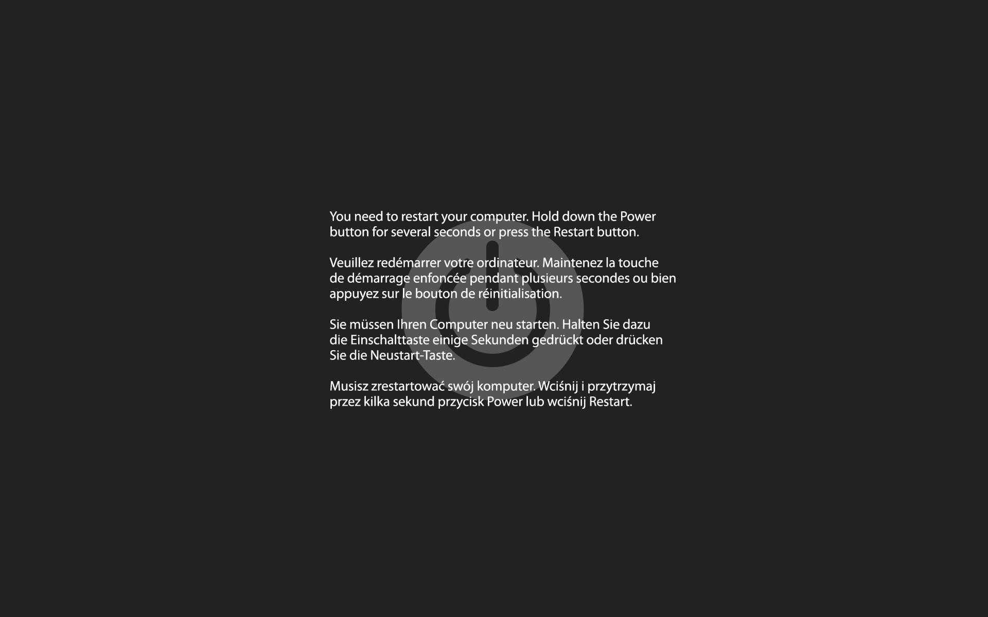 Kernel panic, mac os x, restart, перезагрузка, надпись, серый, 1920x1200.jpg