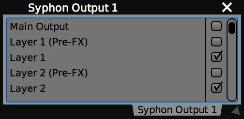 The Syphon Output plugin in VDMX.