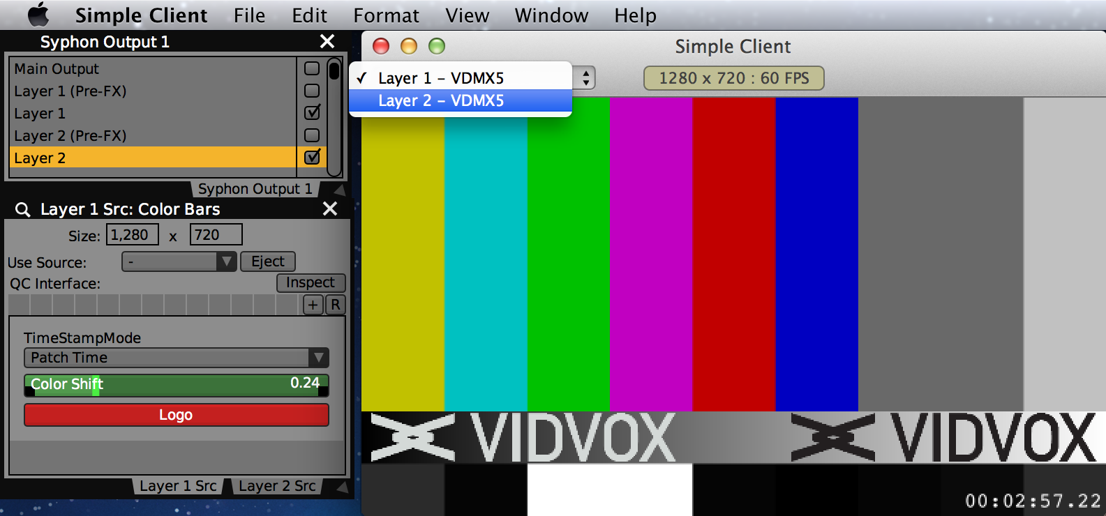 Layer 1 and Layer 2 from VDMX available as sources in the Simple Client application.