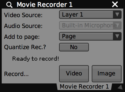 Main interface for Movie Recorder plugin.