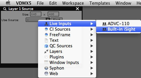 Choosing live inputs from the built-in sources.