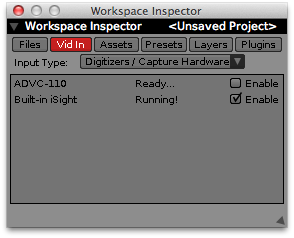 List of live inputs in the Workspace Inspector. Use enable toggles on each row to turn individual devices on and off.