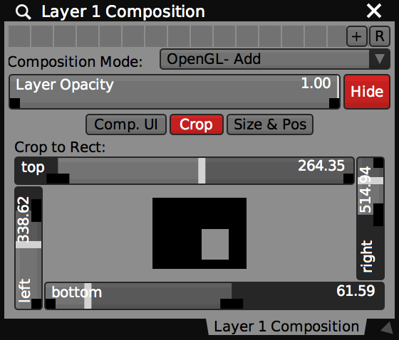 Crop controls for a layer have sliders for trimming left, right, bottom and top of the source image.