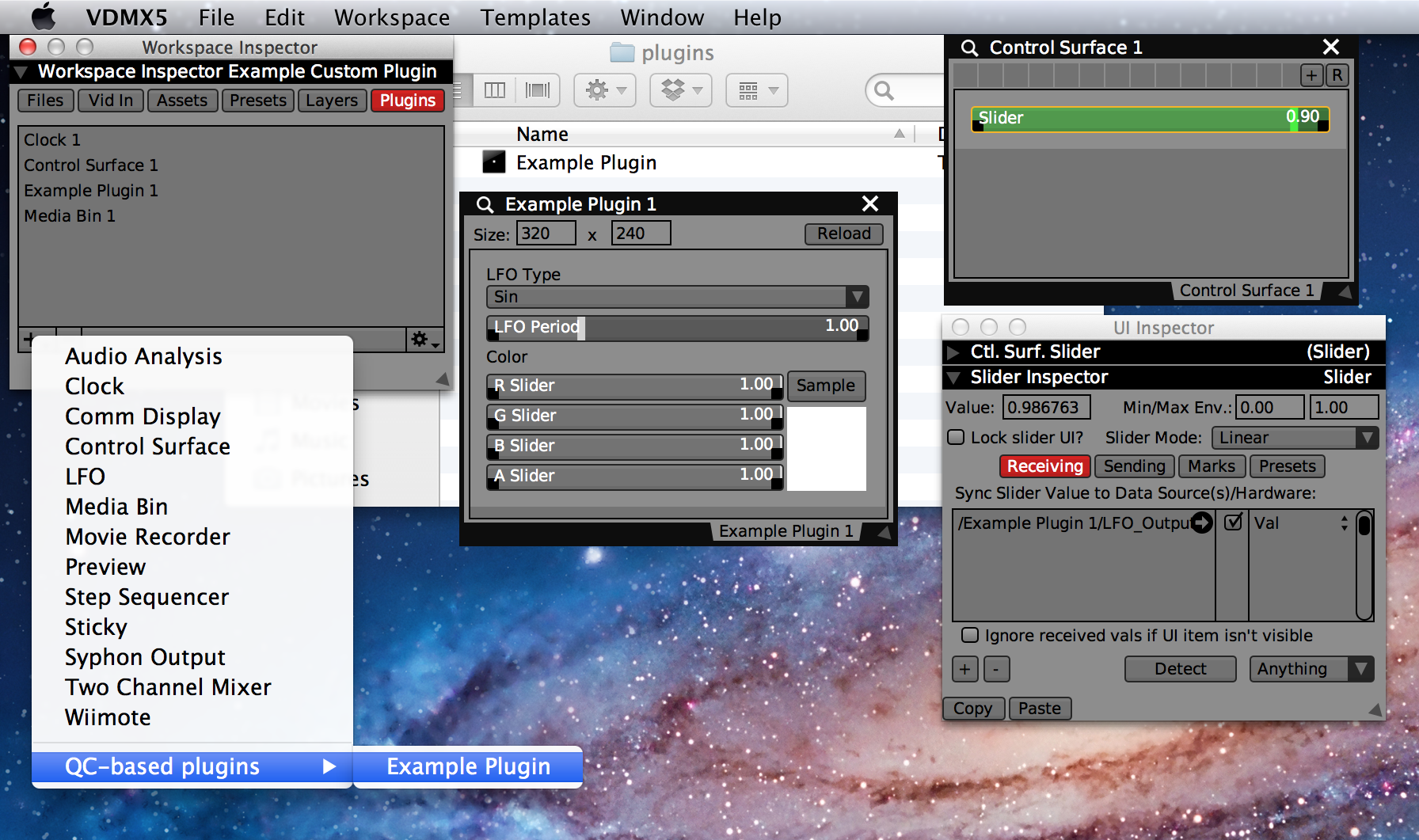 Adding the example plugin to the VDMX project.