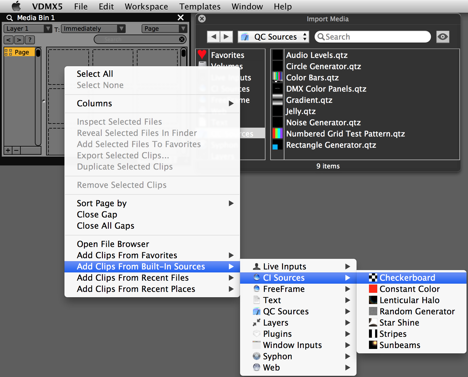 Add built-in sources from the file browser or contextual menu.