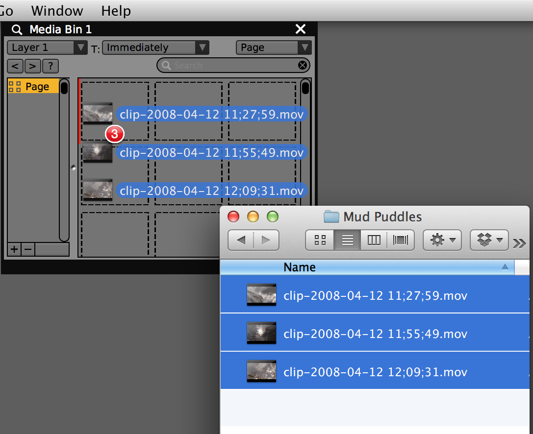 Dragging three movie files from the Finder to a media bin.