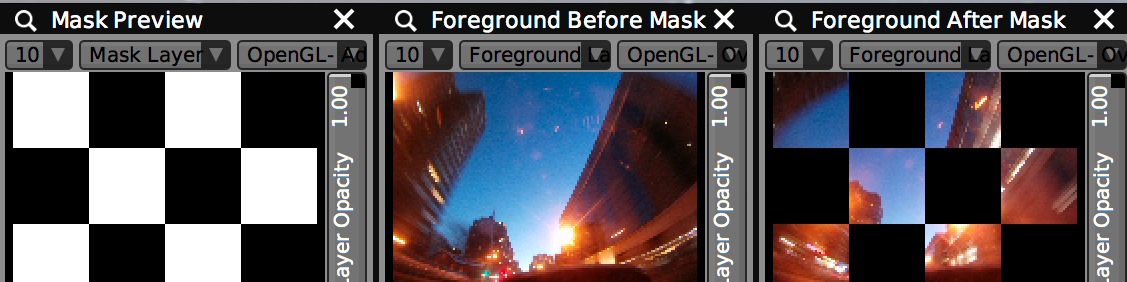 ALPHA CHANNELS, LUMA KEY & MASKS    Use the Shape Mask, Chroma Mask and Layer Mask FX to adjust alpha channels of any layer at any point during its FX chain. Or go nuts and  code your own custom masking FX with GLSL .