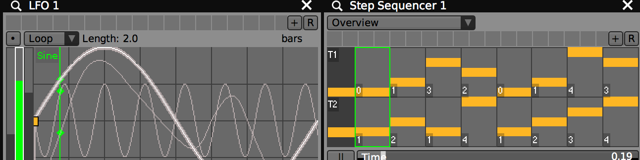 LFOs AND STEP SEQUENCERS    Simple plugins for publishing oscillators and value patterns. Each can be quantized or at its own rate.