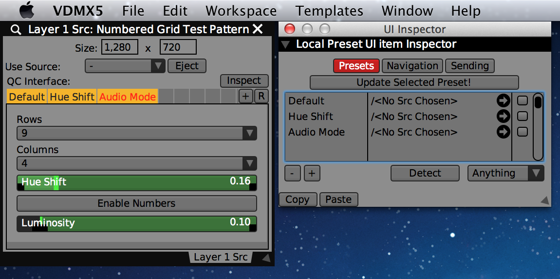 An inspected Local Preset UI Item in Quartz Composer Controls and the UI Inspector.