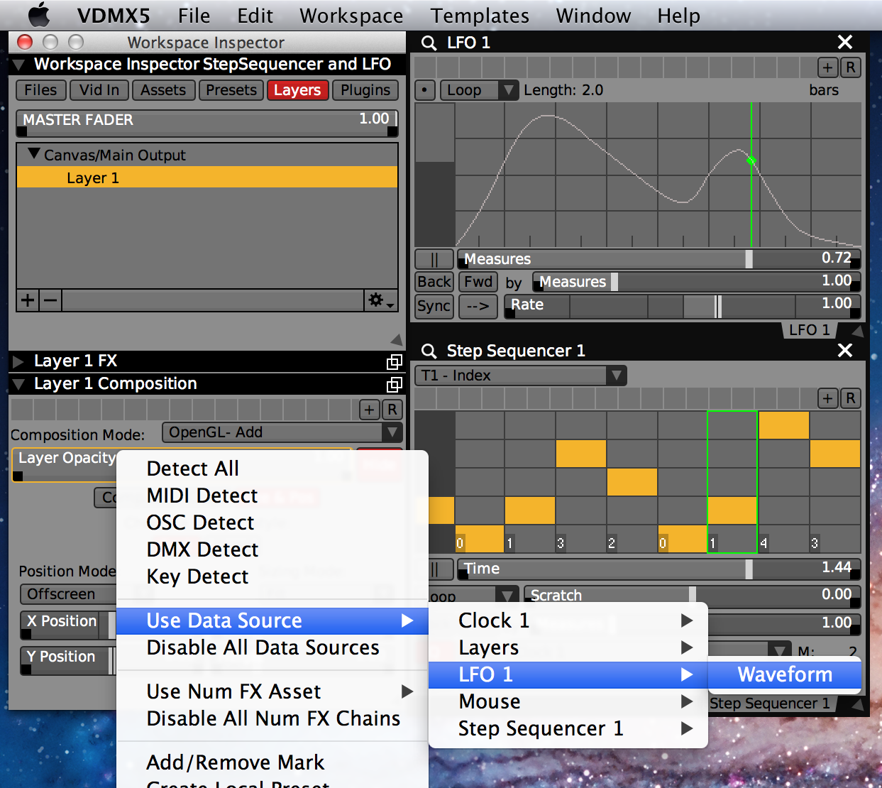 Values generated by the LFO and Step Sequencer plugins are available as data-sources for sliders and other UI items.