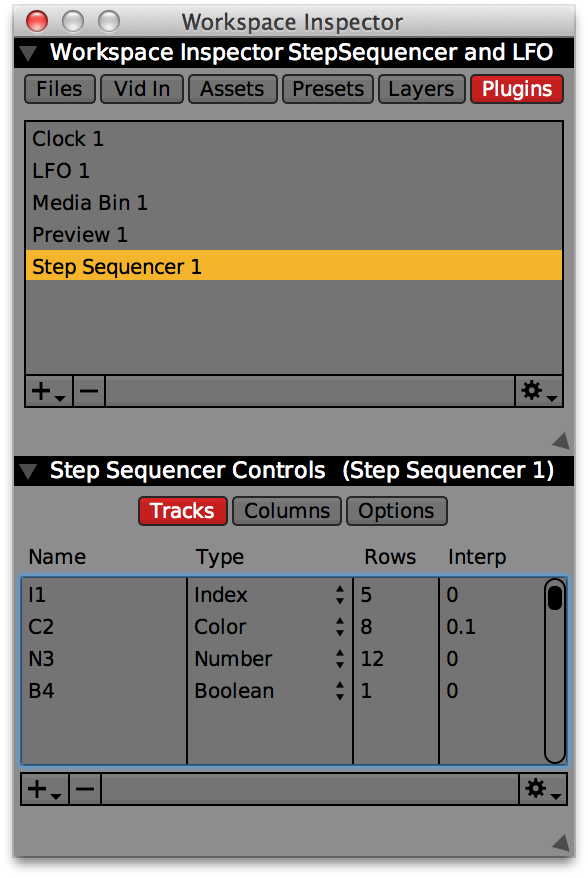 Inspector for the Step Sequencer plugin with four tracks, one of each type. Use the 'Name' column to change the titles of tracks.