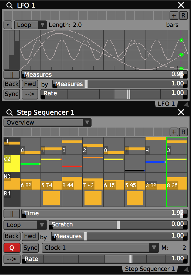 Both the Step Sequencer and LFO can have multiple tracks / waves of different data types within a single plugin.