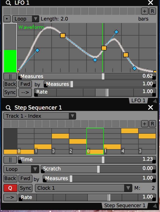 Basic LFO and Step Sequencer plugins.
