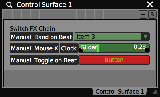 Examples of sliders, buttons and pop menus with local UI presets.