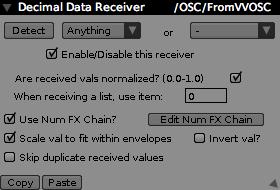 Decimal Receiver Inspector, receiving from an OSC source.