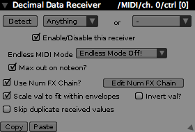 Decimal Receiver Inspector, receiving from a MIDI source.