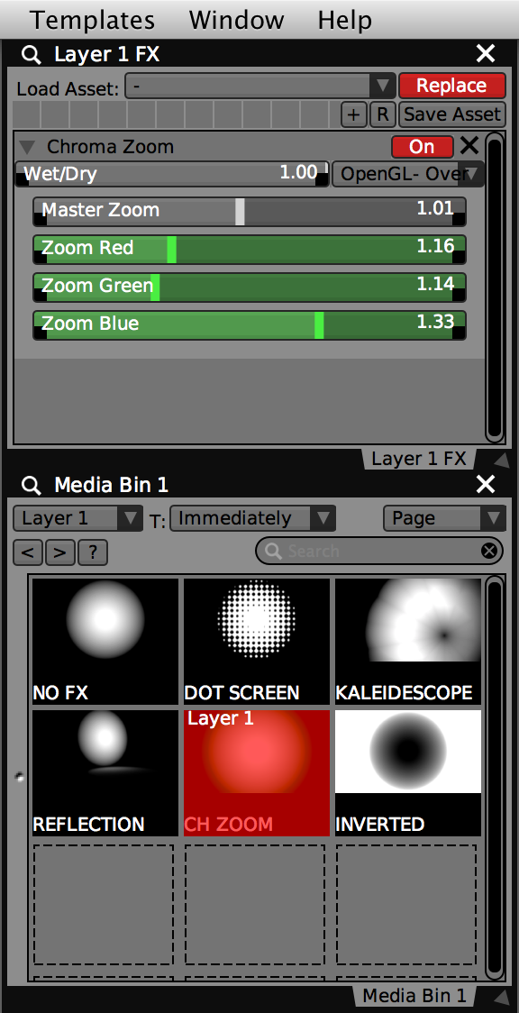 Media bin displaying clips with custom FX chains and thumbnails, click to trigger to Layer 1.