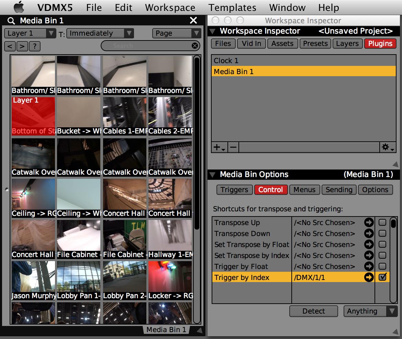 Media Bin 1 set up to 'Trigger by Index' for ArtNet Input Port 1 / Channel 1