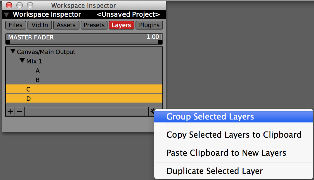 Creating a group in the Workspace Inspector 'Layers' tab.