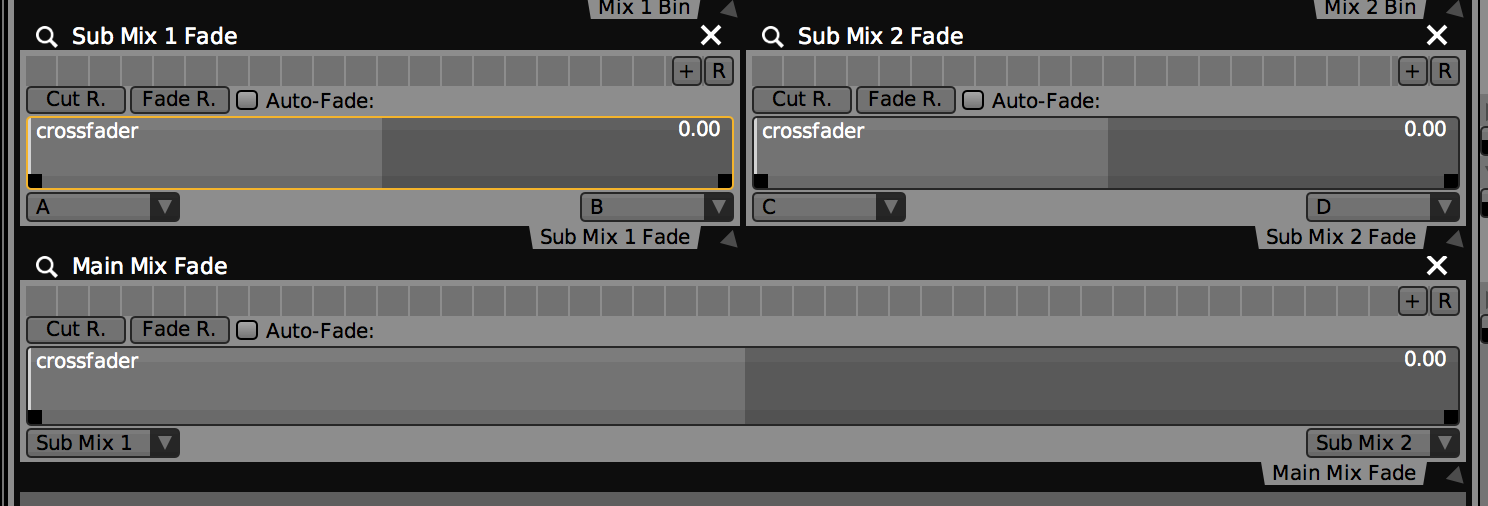 Three 'Two Channel Mixer' Plugins configured to mix between four layers.