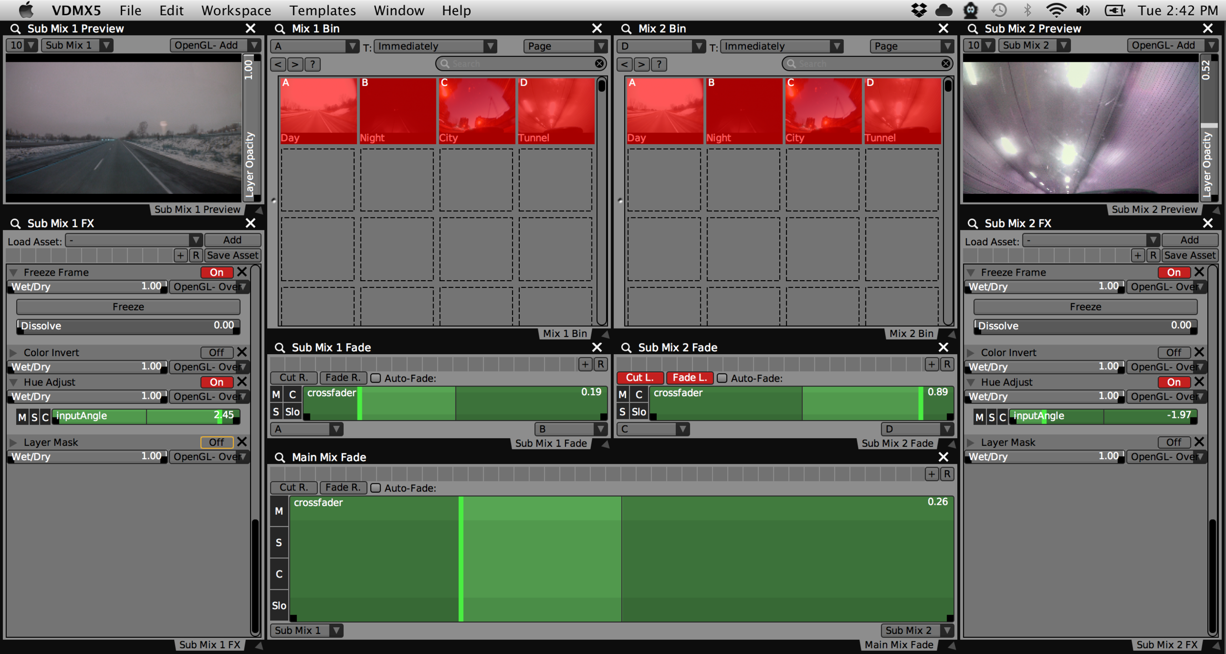 Our completed dual two channel mixer template for VDMX.