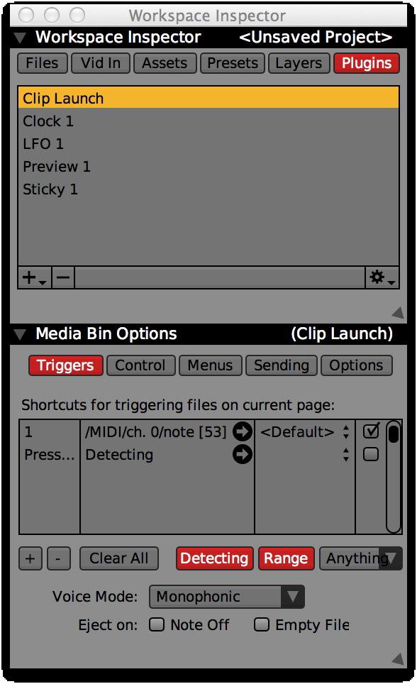 Media Bin waiting for the 'Bottom Right' note during 'Range' detect.