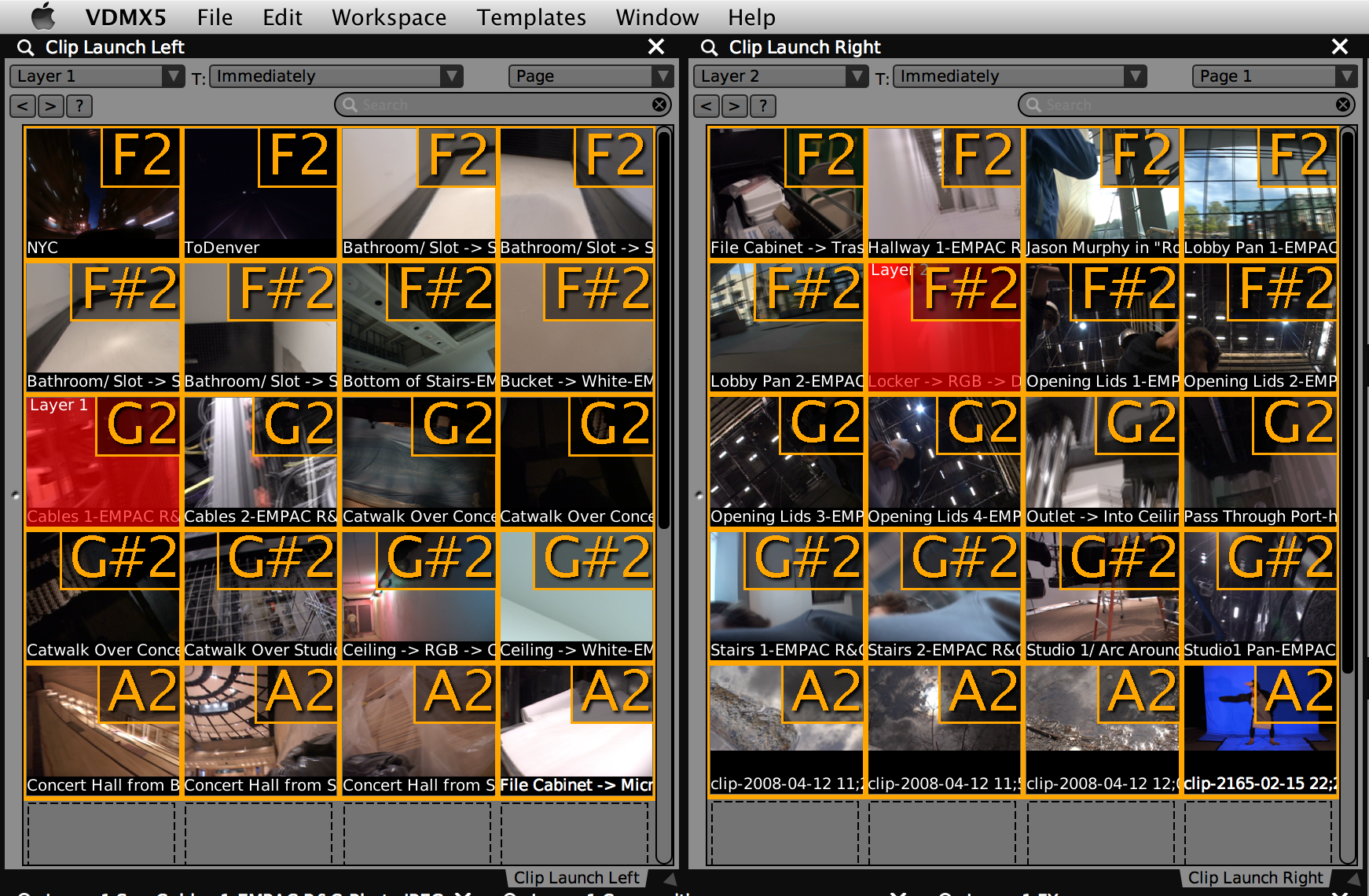 Left and Right Media Bins for Layer 1 and Layer 2 respectively..