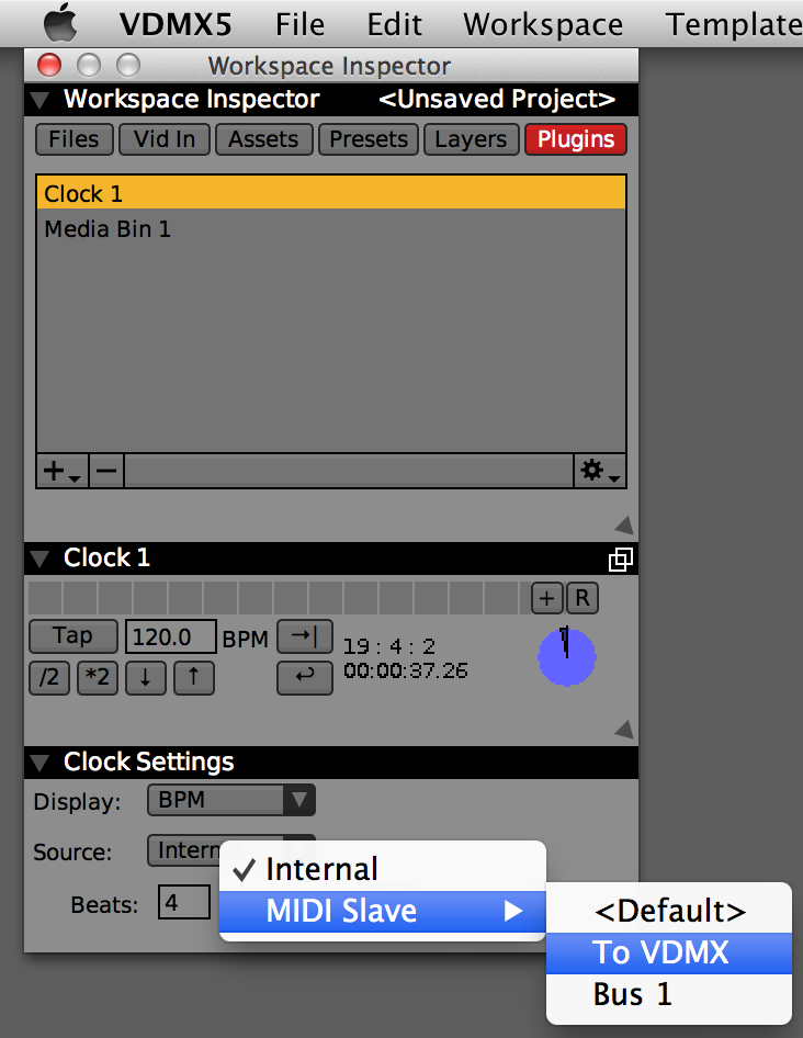 "Set the Clock plugin in VDMX to receive the ""To VDMX"" source."