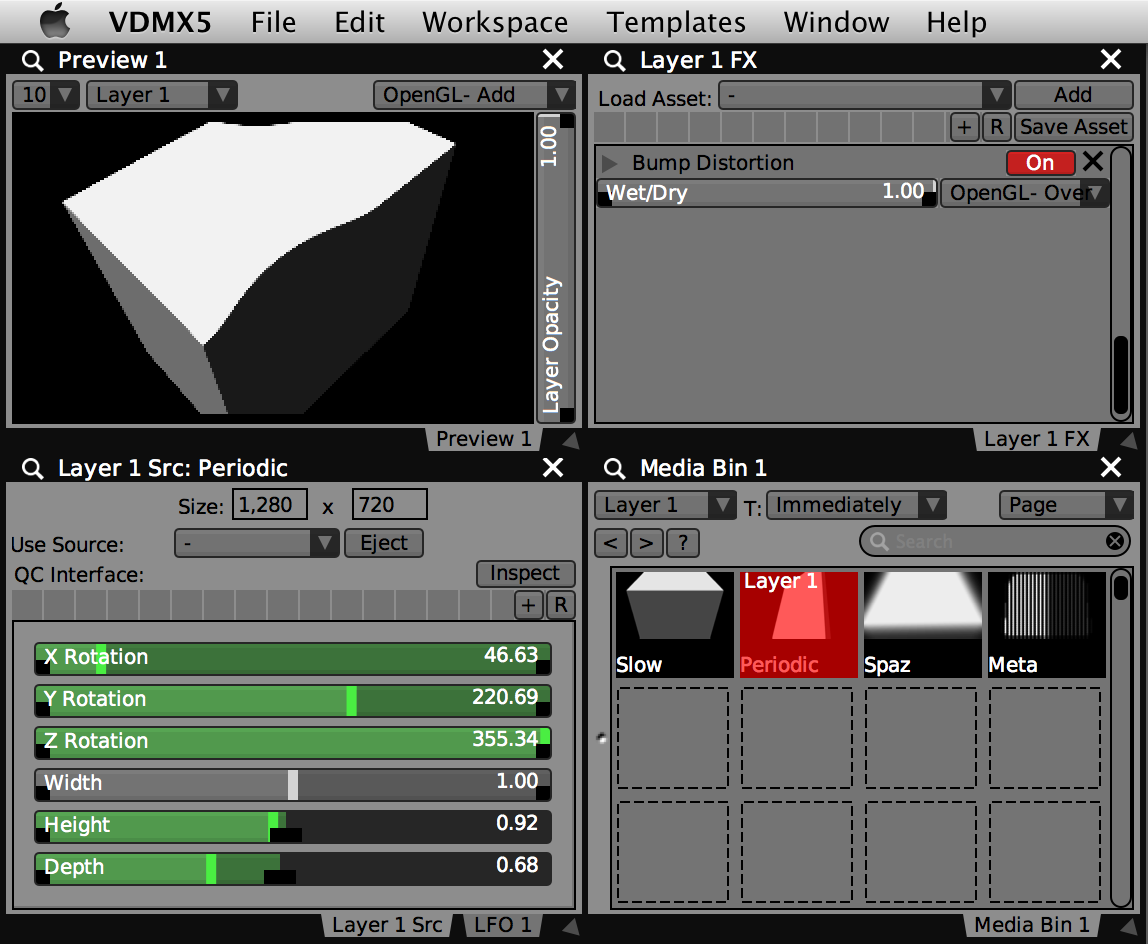 Completed 'Cube Control' composition loaded into a VDMX project.