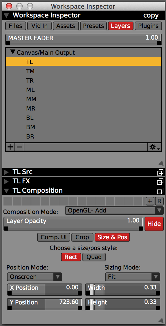Workspace Inspector with 9 arranged layers, Width and Height set to 0.33 in 'Fit' mode.