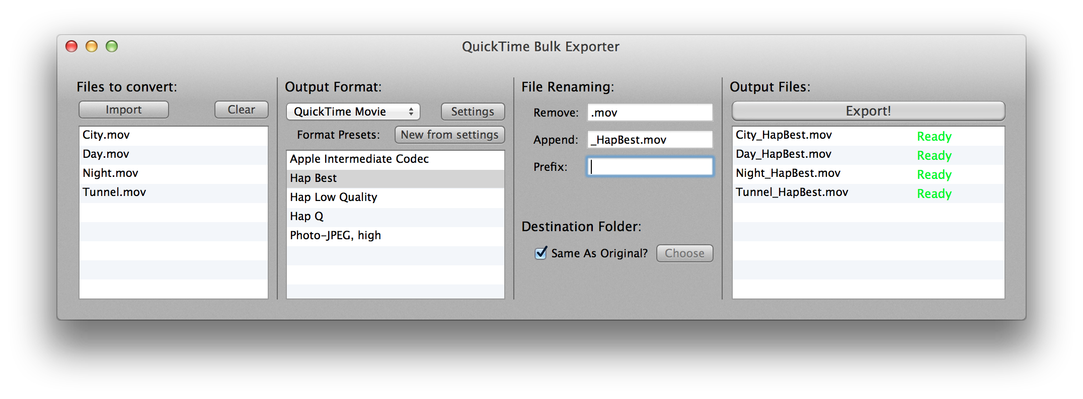 The free VVBatchExporter can be used to automate the conversion of movies into Hap and other Quicktime codecs.