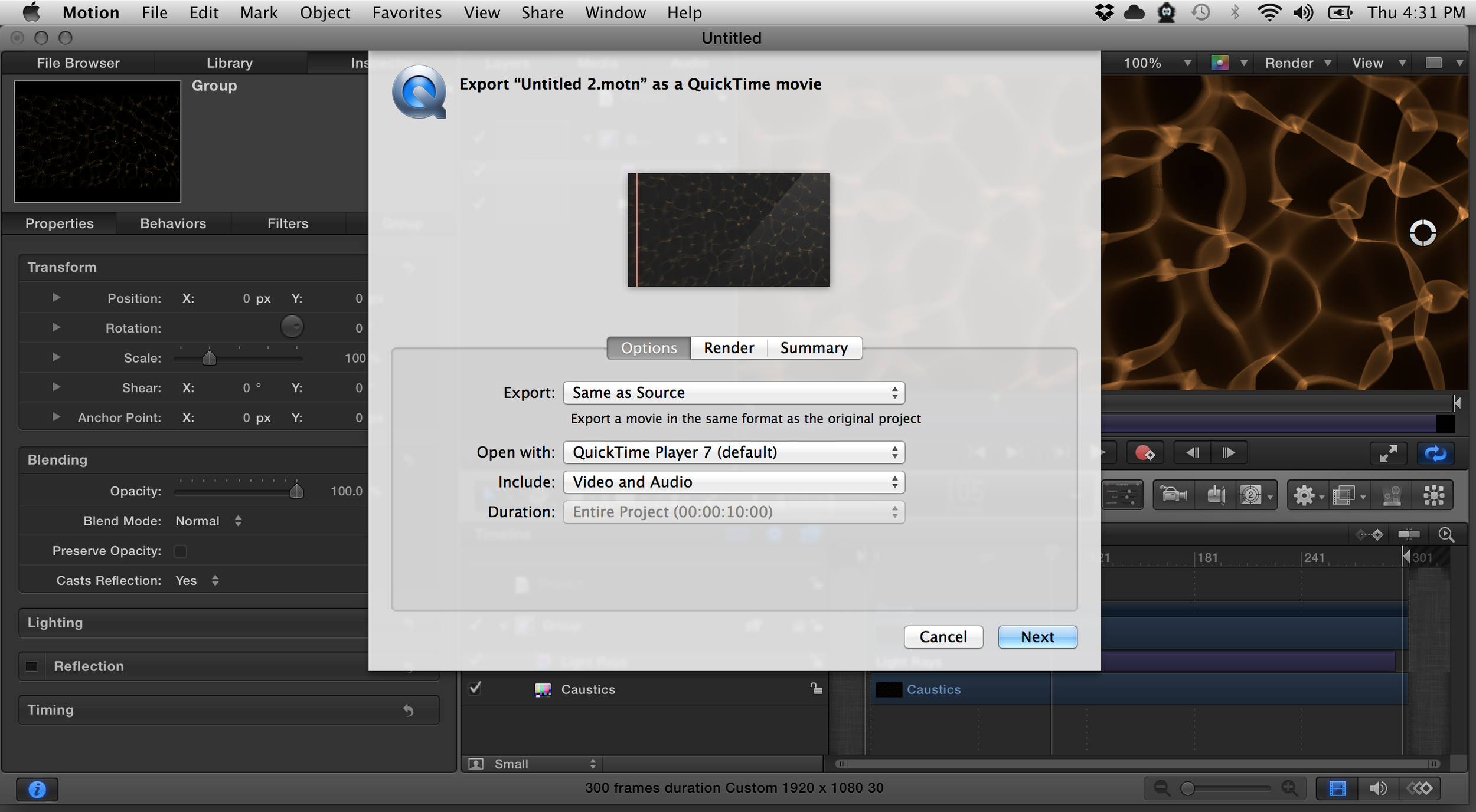 Use these export settings to render with an alpha channel.