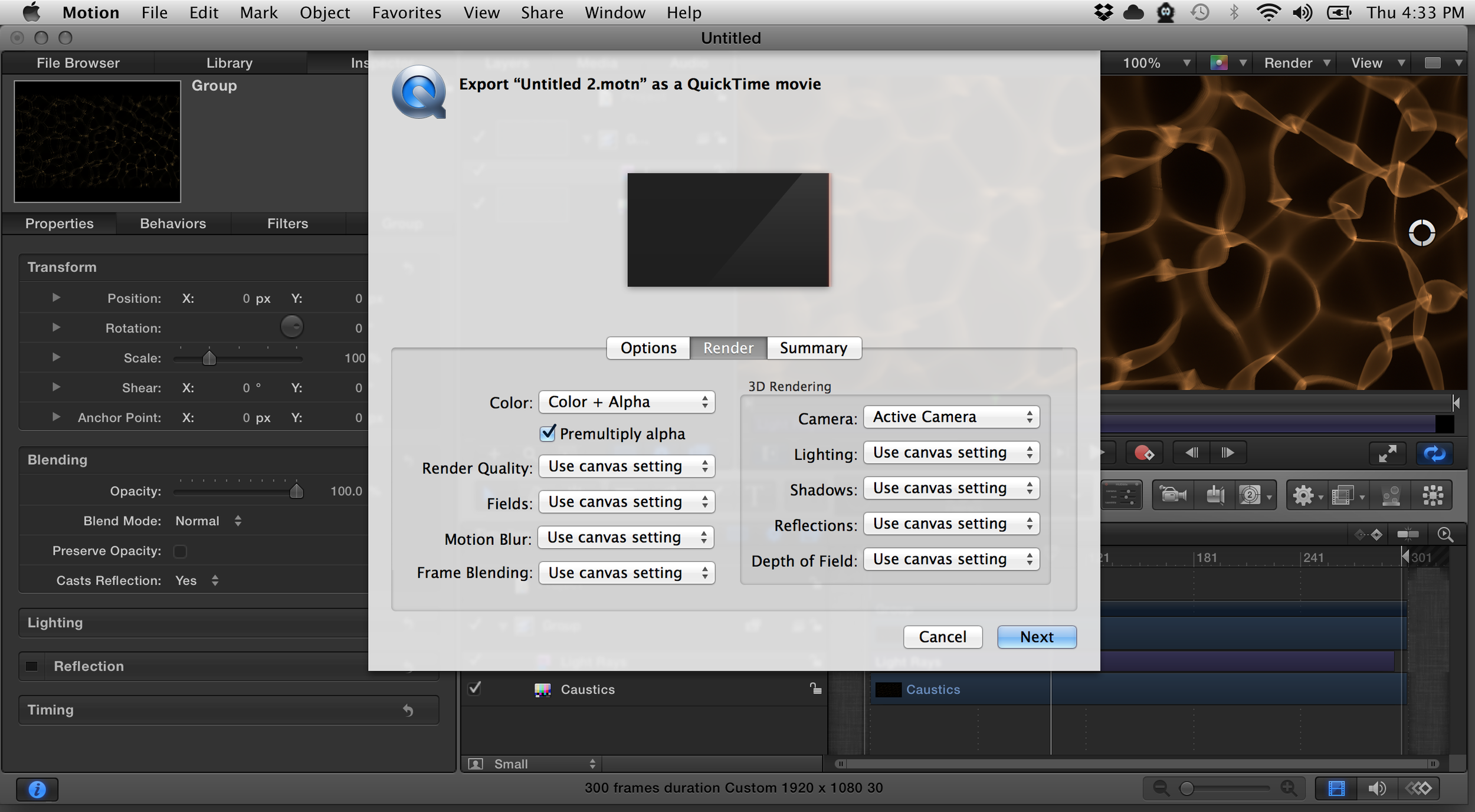 Render with an alpha channel- note 'Premultiply alpha' is on.