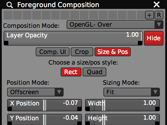 Foreground layer with 'OpenGL- Over' composition mode selected.