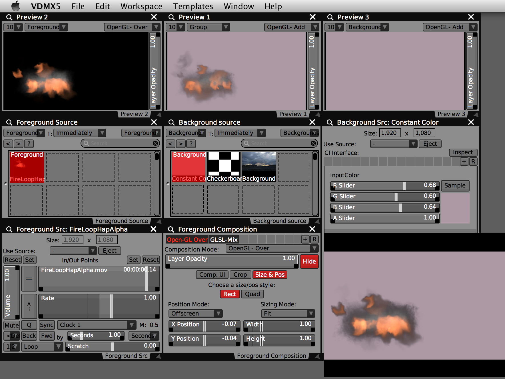 VDMX project with foreground and background layers.