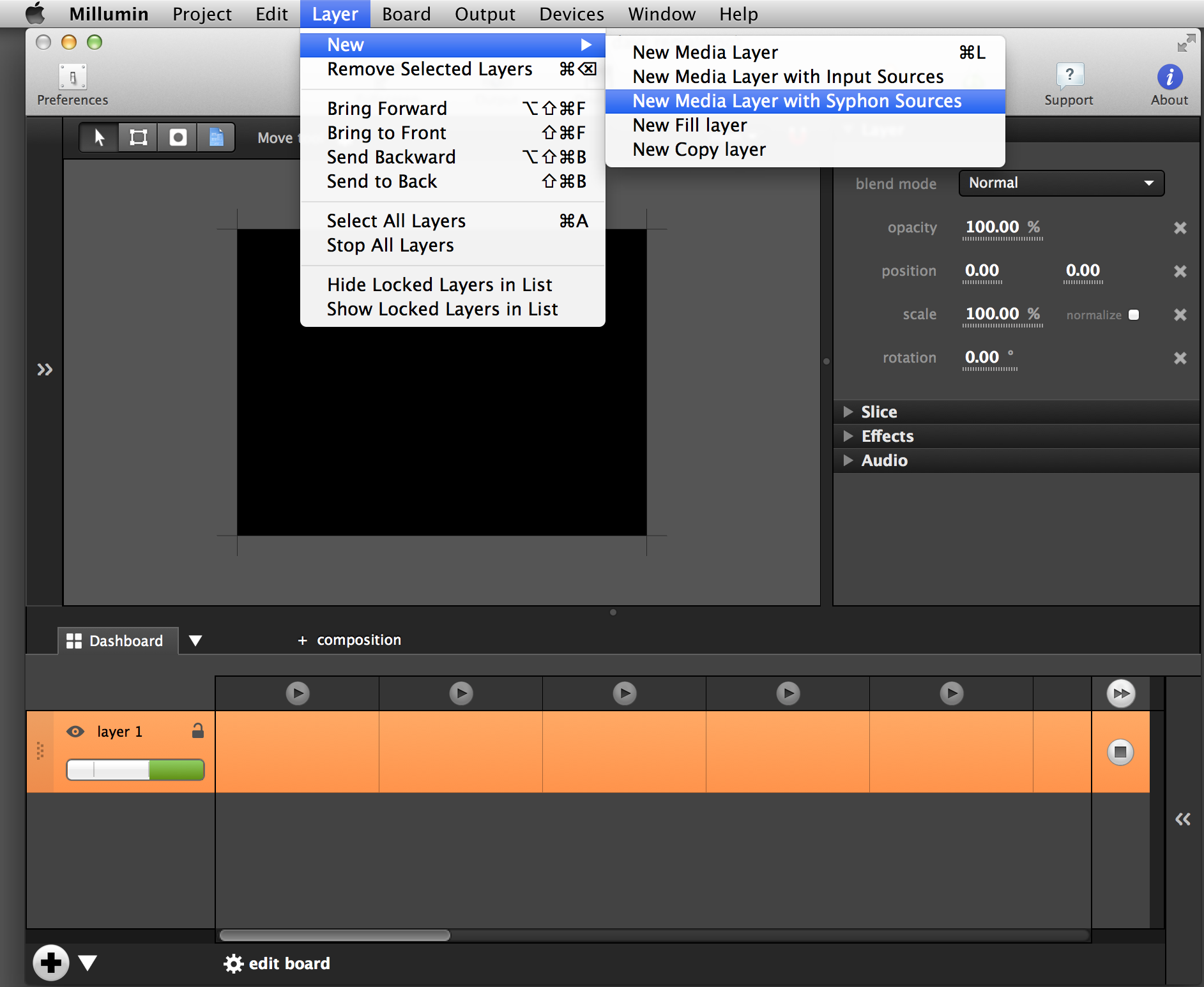 Use the 'New Media Layer with Syphon Sources' found in Millumin's 'Layer' menu.