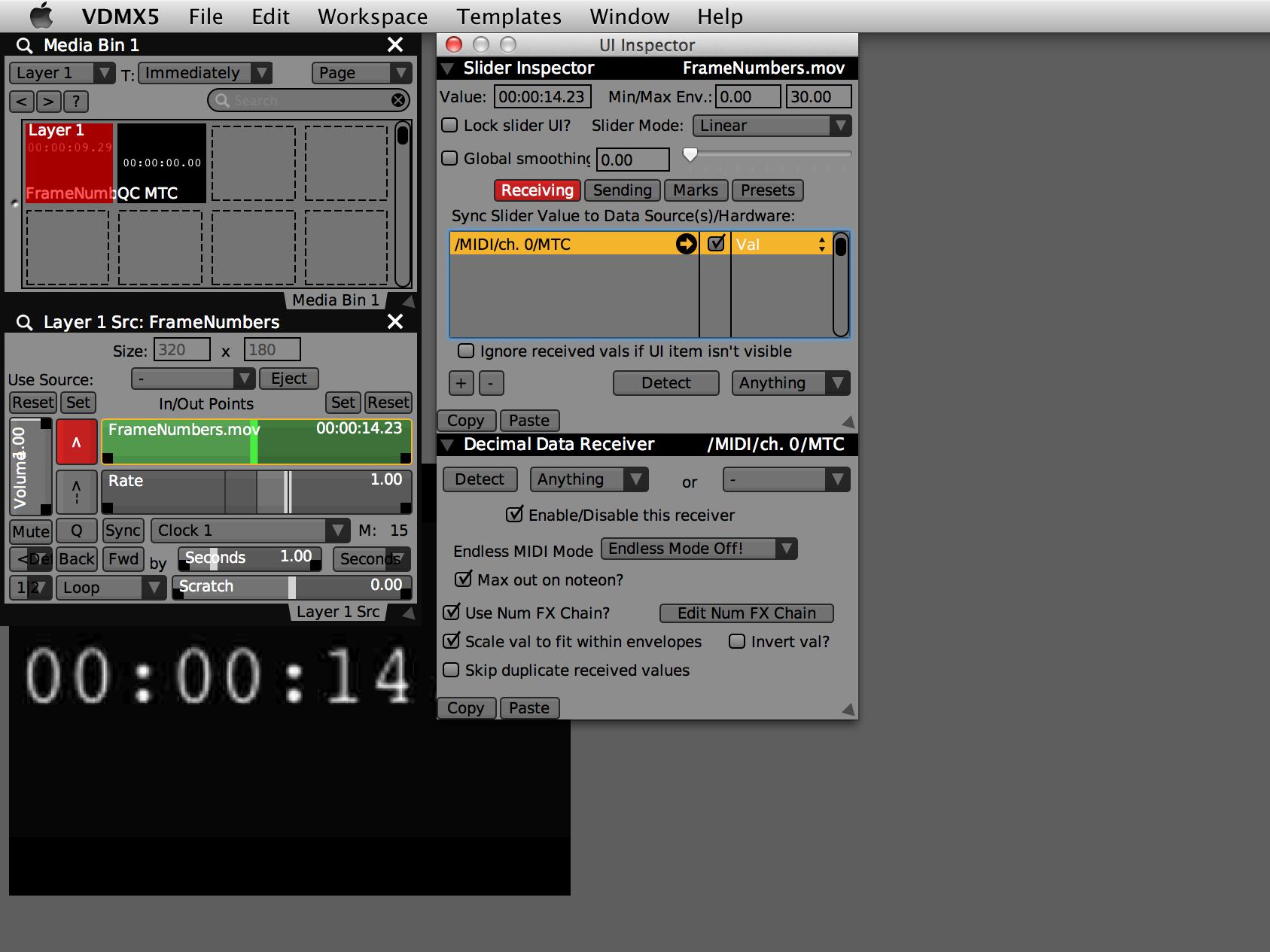 Receiving MIDI SMPTE Time Code (MTC) in VDMX — VDMX - MAC VJ SOFTWARE