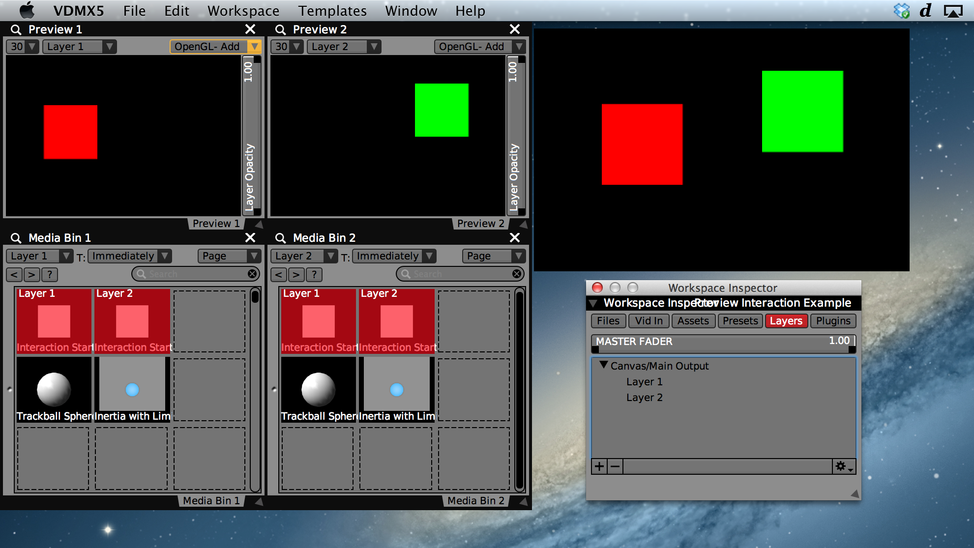 Two layer setup with click-and-drag previews in VDMX.