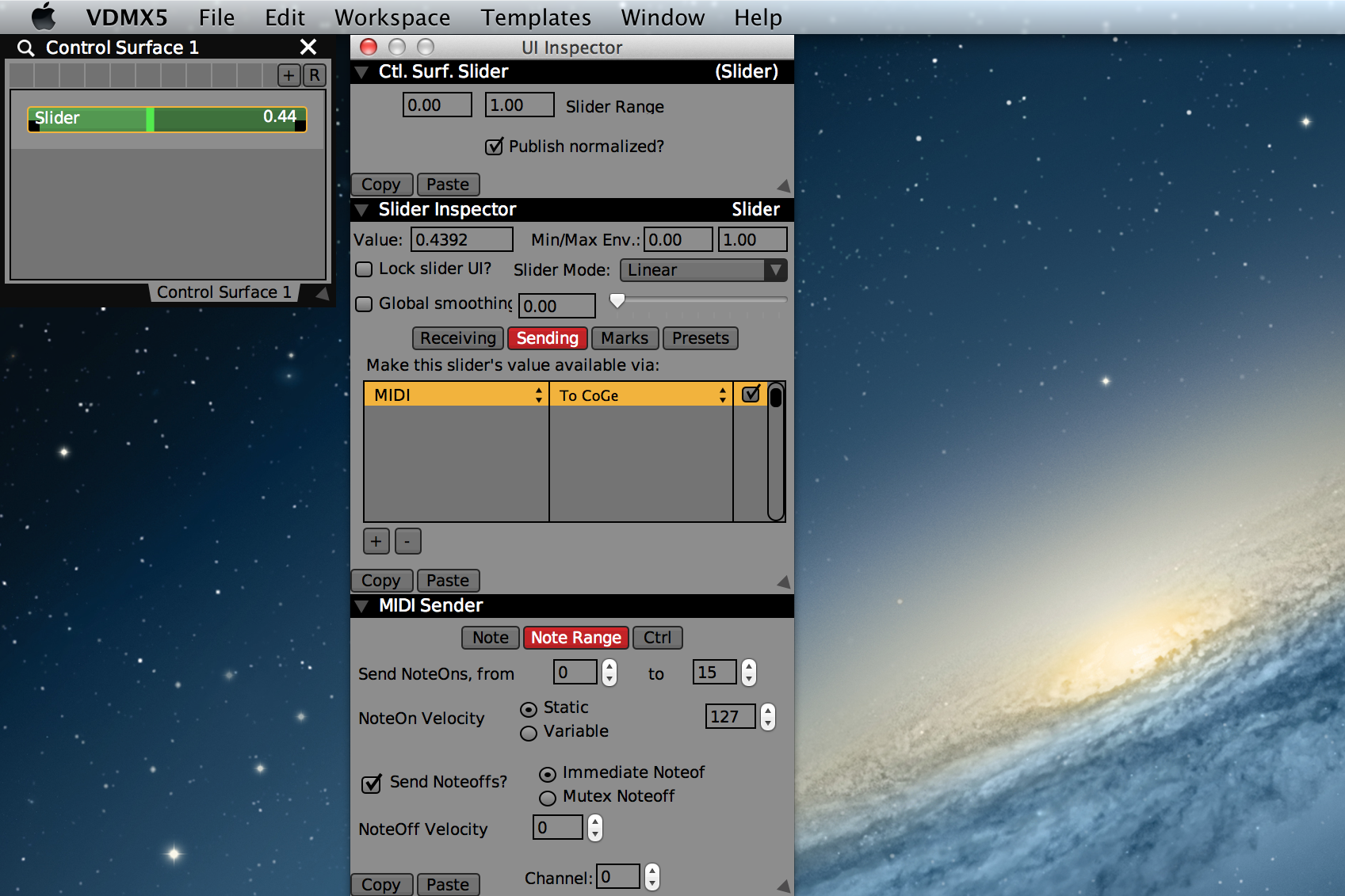 Slider 'Sending' tab with MIDI notes output to CoGe.